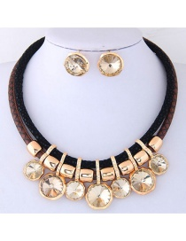 Fashion Gold Color Diamond Decorated Double Layer Jewelry Sets