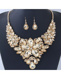 Fashion Champagne Gemstone Decorated Pure Color Jewelry Sets