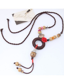 Bohemia Coffee Flower&beads Decorated Hand-woven Necklace