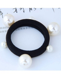 Fashion Black+white Pearls Decorated Simple Hair Band