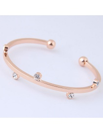 Fashion Gold Color Diamond Decorated Opening Bracelet