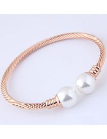 Fashion Gold Color Pearls Decorated Opening Bracelet