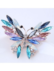 Elegant Multi-color Butterfly Shape Decorated Brooch