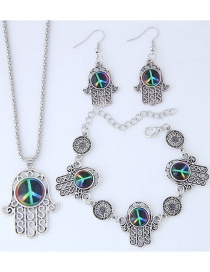 Fashion Multi-color Hand Shape Decorated Jewelry Set