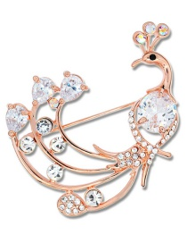 Fashion Gold Color Peacock Shape Decorated Brooch