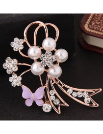 Fashion Pink+gold Color Flower Shape Decorated Brooch