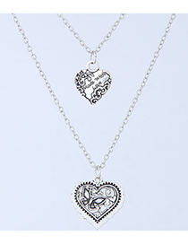 Elegant Silver Color Heart Shape Decorated Double Layer Necklace