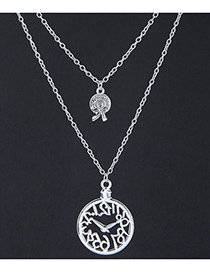 Elegant Silver Color Clock Pendant Decorated Double Layer Necklace