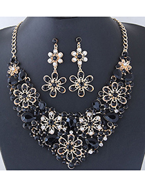 Elegant Black Flower Shape Design Hollow Out Jewelry Sets