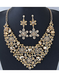 Elegant Champagne Flower Shape Design Hollow Out Jewelry Sets