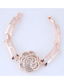 Elegant Gold Color Peony Shape Decorated Bracelets