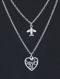 Fashion Silver Color Plane Shape Decorated Necklace