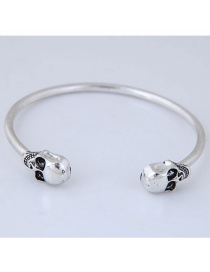 Personality Silver Color Skull Shape Decorated Opening Bracelets