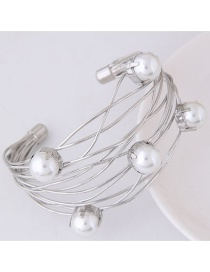 Fashion Silver Color Hollow Out Decorated Opening Bracelets