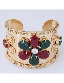 Elegant Red+green Flower Shape Decorated Open Bracelets