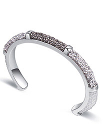 Fashion White+silver Color Diamond Decorated Opening Bracelet