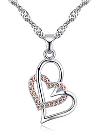 Fashion Light Pink Heart Shape Pendant Decorated Necklace