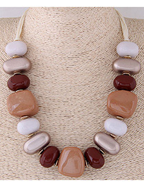 Fashion Coffee+red Irregular Shape Design Simple Necklace