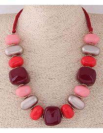 Fashion Red+pink Irregular Shape Design Simple Necklace