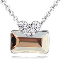 Fashion Gold Color Square Shape Pendant Decorated Necklace