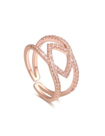 Fashion Gold Color Geometric Shape Decorated Open Rings