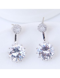 Elegant Silver Color Round Shape Decorated Earrings
