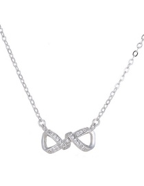 Fashion Silver Color Bowknot Shape Decorated Necklace
