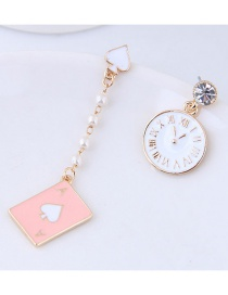 Fashion Pink Clock Shape Decorated Earrings