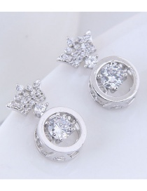 Elegant Silver Color Crown Shape Decorated Earrings