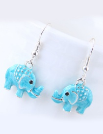 Fashion Blue Elephant Shape Decorated Earrings