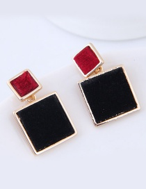 Fashion Black+red Square Shape Decorated Earrings