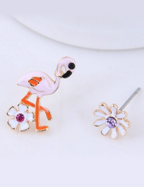 Fashion Light Pink Ostrich Shape Decorated Earrings