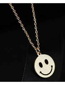Elegant Gold Color Face Shape Decorated Necklace