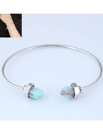 Fashion Blue+silver Color Pure Color Decorated Bracelet