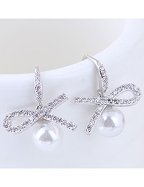Sweet Silver Color Bowknot Decorated Pure Color Earrings