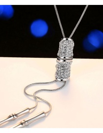 Fashion Silver Color Bamboo Shape Pendant Decorated Necklace