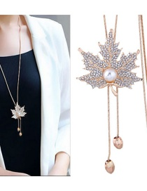 Fashion Gold Color Maple Leaves Pendant Decorated Necklace