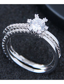Fashion Silver Color Multi-layer Shape Decorated Ring
