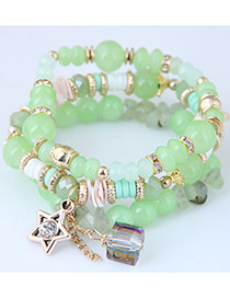 Fashion Green Star Shape Decorated Multilayer Bracelet