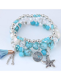 Fashion Blue Starfish Shape Decorated Multilayer Bracelet