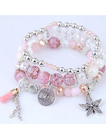Fashion Light Pink Starfish Shape Decorated Multilayer Bracelet