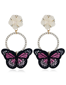 Fashion Red Butterfly Shape Decorated Earrings