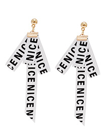 Fashion White Letter Pattern Decorated Earrings