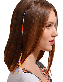 Fashion Yellow+blue+red Tassel Decorated Hair Band