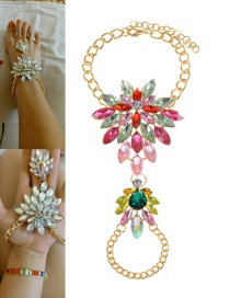 Fashion Pink+green Flower Shape Decorated Anklet