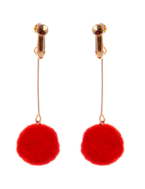 Fashion Red Ball Shape Decorated Pom Earrings