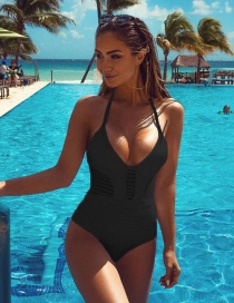 Fashion Black Pure Color Decorated Bikini