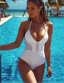 Fashion White Pure Color Decorated Bikini