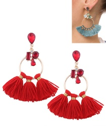Fashion Red Tassel Decorated Circular Ring Shape Earrings