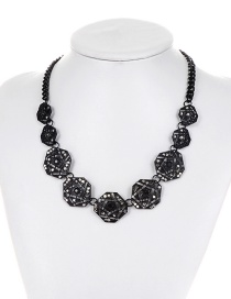 Fashion Black Irregular Shape Decorated Simple Necklace